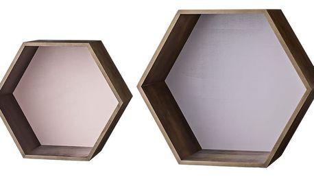 Bloomingville Nástěnná polička Mahogany stain Menší-růžová, hnědá barva, dřevo