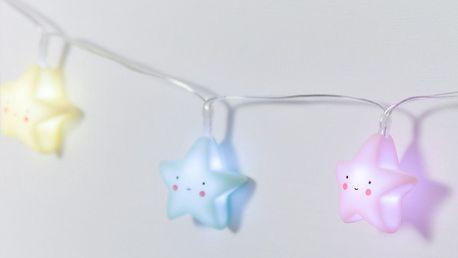 A Little Lovely Company Dětský světelný řetěz Stars Pastel, růžová barva, modrá barva, žlutá barva, plast