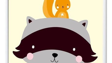 A Little Lovely Company Dětský plakát Raccoon & co. 50x70 cm, žlutá barva, papír
