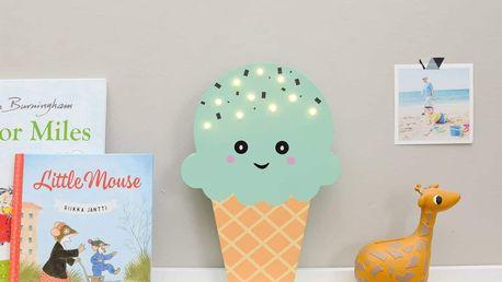 Smiling Faces Svítící LED zmrzlina Mint, modrá barva, zelená barva, dřevo