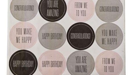 Bloomingville Dárkové nálepky Happy, růžová barva, šedá barva, černá barva, papír