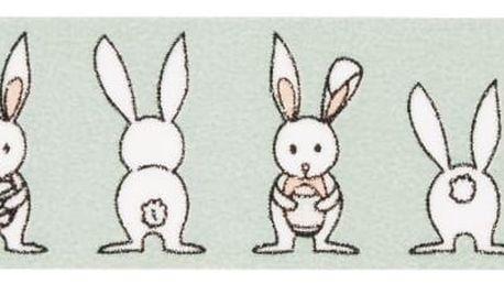 MADAM STOLTZ Designová samolepicí páska Rabbits, zelená barva, papír