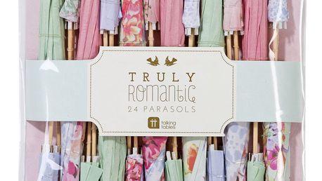 Talking Tables Papírové deštníčky do pohárů Romantic, růžová barva, modrá barva, šedá barva, papír