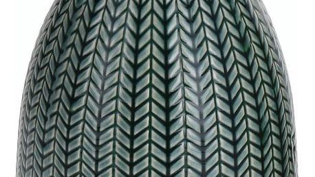 Porcelánová váza Knit tmavě zelená, 16 cm