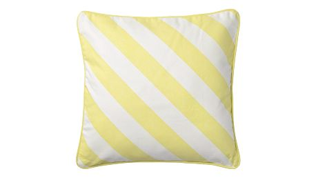 Bloomingville Pruhovaný polštářek Lemon Stripes, žlutá barva, bílá barva, textil