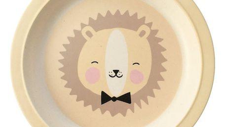 EEF lillemor Bambusový talířek - Lovely Animals, žlutá barva, oranžová barva, hnědá barva