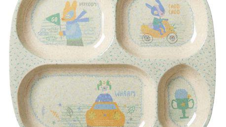rice Melaminový talíř se 4 přihrádkami Race, zelená barva, béžová barva, krémová barva, melamin