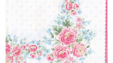 GREEN GATE Papírové ubrousky Tess White - větší, růžová barva, bílá barva, multi barva, papír
