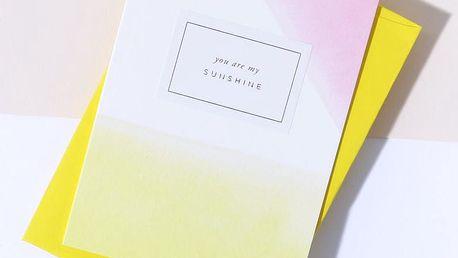 À L'AISE Papírové přání s obálkou Sunshine, žlutá barva, papír