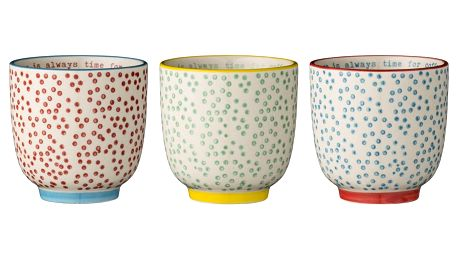 Bloomingville Latte cup Laura dots Zelený, červená barva, modrá barva, zelená barva, keramika