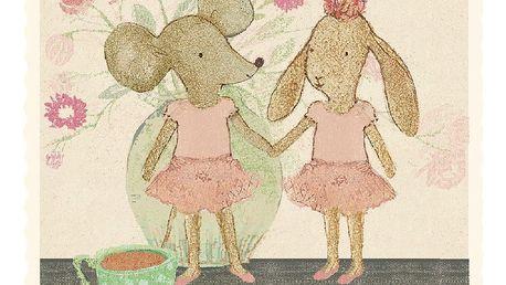 Maileg Přání s obálkou Ballerina Mice, růžová barva, multi barva, krémová barva, papír