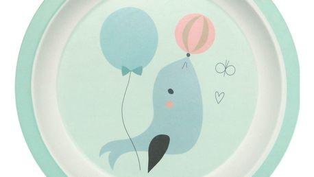 PETIT MONKEY Bambusový talířek Seal, modrá barva, zelená barva, melamin