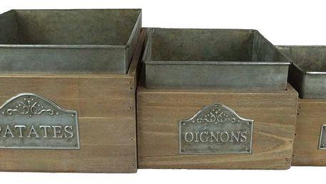 Sada 3 dřevěných košů Antic Line Oignons