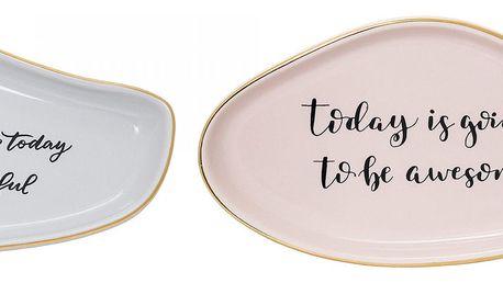 Bloomingville Keramický talířek Summer Šedý, růžová barva, šedá barva, keramika