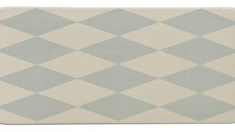 Bloomingville Keramický tácek Diamond, modrá barva, bílá barva, keramika