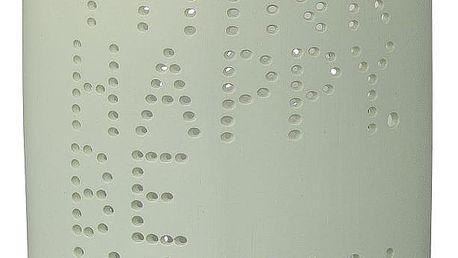 Bloomingville Porcelánový svícen Happy, zelená barva, bílá barva, porcelán