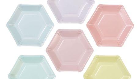 Talking Tables Papírové talířky Pastel Hexagonal - 12 ks, multi barva, papír