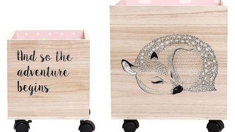 Bloomingville Úložný box na kolečkách Bambi Větší, růžová barva, dřevo