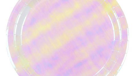 Talking Tables Perleťové papírové talíře Iridescent - 12 ks, růžová barva, papír