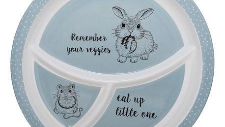 Bloomingville Melaminový talířek s přihrádkami Toby, modrá barva, melamin