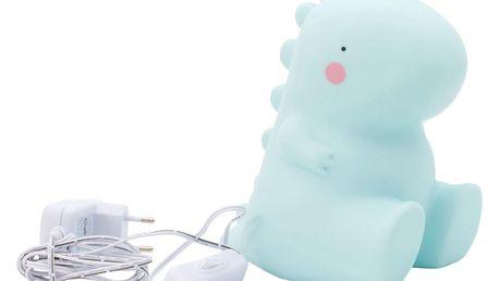 A Little Lovely Company Noční stolní LED lampička T-rex, modrá barva, plast