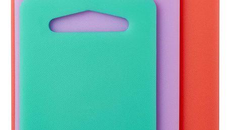 rice Plastová prkénka Coral - set 3 kusů, růžová barva, fialová barva, zelená barva, oranžová barva, plast