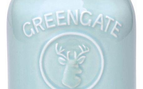 GREEN GATE Porcelánová dóza Maison Mint 19 cm, zelená barva, porcelán