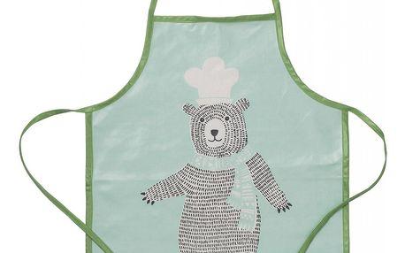 Bloomingville Dětská nepromokavá zástěra Bear, zelená barva, textil