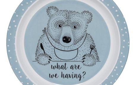 Bloomingville Melaminový talířek pro děti Toby, modrá barva, melamin