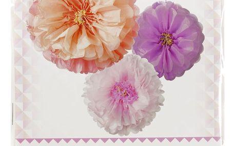 Talking Tables Dekorativní papírové pompony Blush Flower - set 3 ks, růžová barva