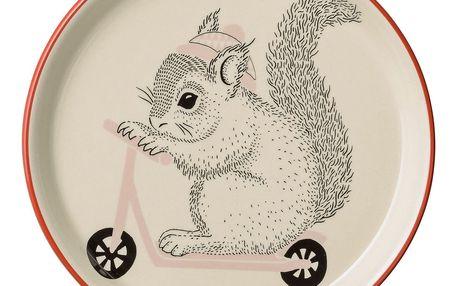 Bloomingville Keramický talířek Mollie Squirrel, červená barva, růžová barva, béžová barva, černá barva, krémová barva, keramika