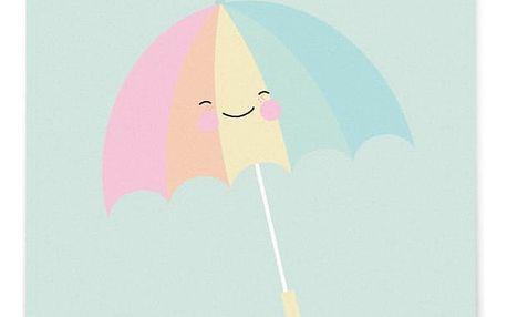 EEF lillemor Pohlednice Umbrella, zelená barva, papír