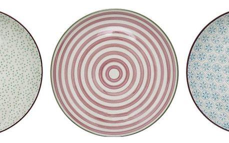 Bloomingville Dezertní talíř Patrizia Modrý vzor, růžová barva, modrá barva, zelená barva, keramika