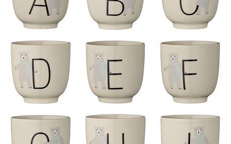 Bloomingville Keramický kalíšek Annabelle Alphabet Písmeno Q, béžová barva, keramika