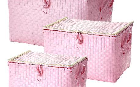 rice Plastový box s víkem Soft pink Velikost M, růžová barva, plast