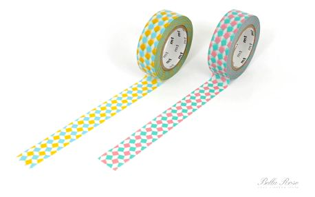 mt Designová samolepící páska square yellow x pink, multi barva, papír