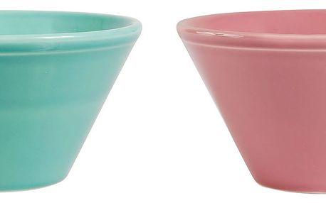 CÔTÉ TABLE Keramická miska Coupelle Růžová, růžová barva, modrá barva, zelená barva, keramika