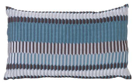 ferm LIVING Péřový polštář Salon Cushion Pleat Sea 40x25, modrá barva, zelená barva, šedá barva, textil