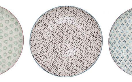 Bloomingville Obědový talíř Patrizia Fialové puntíky, fialová barva, modrá barva, zelená barva, keramika