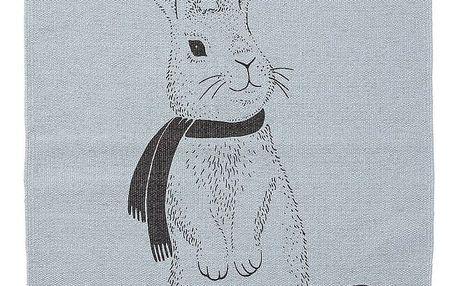 Bloomingville Koberec do dětského pokoje Rabbit Sky Blue, modrá barva, černá barva, textil