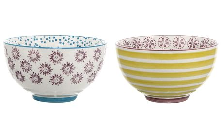 Bloomingville Keramická miska Patrizia Fialová/modrá, fialová barva, modrá barva, žlutá barva, keramika