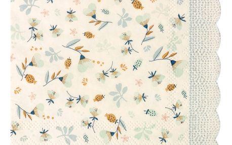 Maileg Papírové ubrousky Blue 12,5x12,5 cm, modrá barva, bílá barva, papír