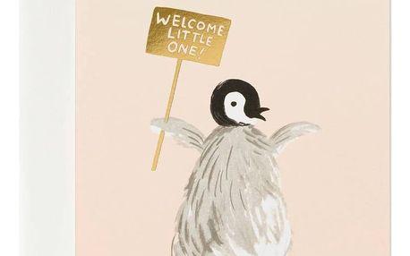 Rifle Paper Co. Přání s obálkou Welcome Penguin, růžová barva, papír