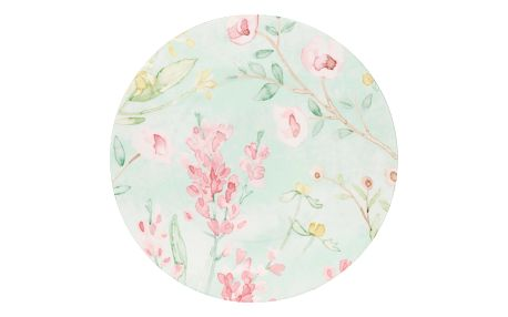 GREEN GATE Porcelánový talíř Alina white, červená barva, růžová barva, zelená barva, porcelán