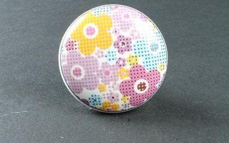 La finesse Porcelánová úchytka Les Fleurs, multi barva, porcelán 40 mm