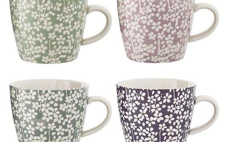 Bloomingville Keramický hrnek Seeke Růžový, růžová barva, fialová barva, zelená barva, šedá barva, keramika