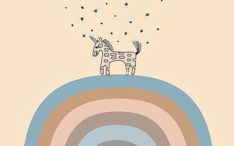 OYOY Dětský plakát Follow the Rainbow 50x70 cm, oranžová barva, papír