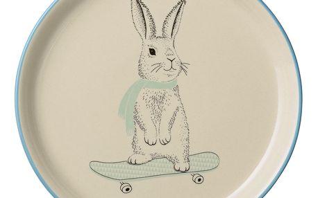 Bloomingville Keramický talíř Marius Rabbit, modrá barva, zelená barva, béžová barva, krémová barva, keramika