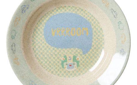 rice Hluboký melaminový talířek Race, modrá barva, zelená barva, béžová barva, melamin