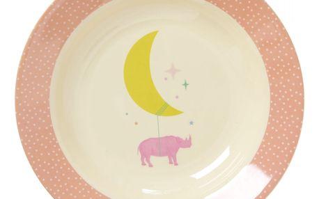 rice Dětská melaminová miska Universe pink, růžová barva, bílá barva, melamin